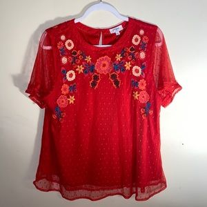 Anthropologie Umgee embroidered stitch blouse Sz L